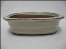 Bonsai Pot, Rectangle, 15cm, Cream, Glazed
